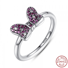 Cartoon's Sparkling Bow Ring with Purple and Clear CZ 100% 925 Sterling Silver Sterling-Silver-Jewelry PA7139