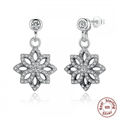 Vintage 925 Sterling Silver Lace Botanique, Clear CZ Floral Motif Drop Earrings for Women Jewelry PAS432