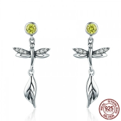 Insect Collection 100% 925 Sterling Silver Summer Dragonfly Crystal Drop Earrings for Women Silver Jewelry Gift SCE375