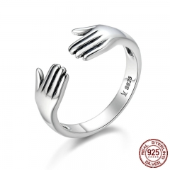 Genuine 925 Sterling Silver Double Layer Give Me A Hug Hand Open Finger Rings for Women Sterling Silver Jewelry SCR136