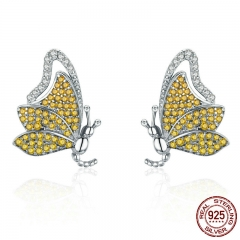 100% 925 Sterling Silver Dancing Butterfly Yellow CZ Exquisite Stud Earrings for Women Sterling Silver Jewelry SCE369