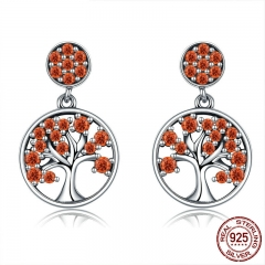 Hot Sale 925 Sterling Silver 3 Colors Tree of Life AAA Zircon Drop Earrings for Women Silver Jewelry Brincos SCE321