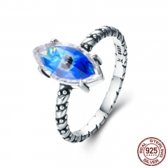 Hot Sale Authentic 100% 925 Sterling Silver Blue Eyes Stackable Female Ring for Women Sterling Silver Jewelry SCR304
