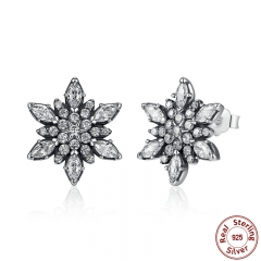 Original 925 Sterling Silver Crystalize Snowflake Clear Crystals Stud Earrings for Women Jewelry PAS430