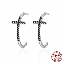 Popular 100% 925 Sterling Silver Classic Cross Black CZ Drop Earrings for Women Sterling Silver Jewelry Brincos SCE262 EARR-0280