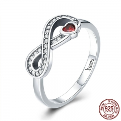 100% 925 Sterling Silver Infinity Love Forever Heart Clear CZ Finger Ring for Women Wedding Engagement Jewelry SCR415 RING-0463