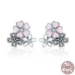 100% 925 Sterling Silver Pink Daisy Cherry Blossoms Flower Stud Earrings for Women Sterling Silver Jewelry Gift SCE400