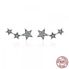 Authentic 925 Sterling Silver Sparkling CZ Exquisite Stackable Star Stud Earrings for Women Jewelry Christmas Gift SCE175 EARR-0221