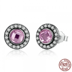 Original 925 Sterling Silver Brilliant Legacy Stud Earrings With Pink & Clear CZ for Women Anniversary Jewelry PAS423