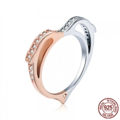 925 Sterling Silver Dolphin Love Rings for Women Gold Color Heart Shape Finger Ring Wedding Engagement Jewelry SCR418 RING-0470
