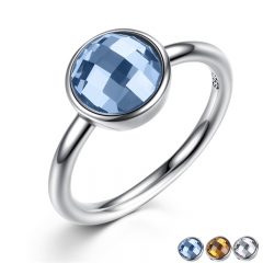 Summer Collection Pure 925 Sterling Silver Rings Blue Imitated Stone Finger Ring Women Fine Jewelry PA7183