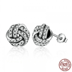 Popular 925 Sterling Silver Weave Classic Push-back Stud Earring Women Jewelry brinco PAS476