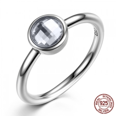 Elegant Glass 925 Sterling Silver Rings Poetic Droplet Clear CZ Finger Ring for Women Fashion Wedding Jewelry PA7186