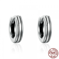 Classic 100% 925 Sterling Silver Hiphop Round Rock Hoop Earrings for Women Authentic Silver Jewelry Bijoux Gift SCE141