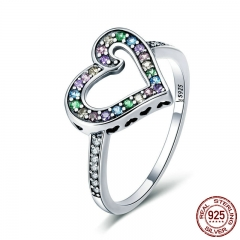 Authentic 925 Sterling Silver Rainbow Love Heart Rainbow Crystal CZ Finger Ring for Women Sterling Silver Jewelry SCR413