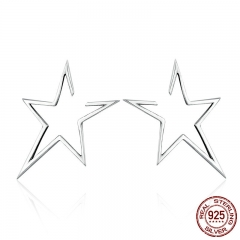 New Arrival Authentic 925 Sterling Silver Exquisite Star Stud Earrings for Women Hyperbole Fine Jewelry Bijoux SCE107 EARR-0199
