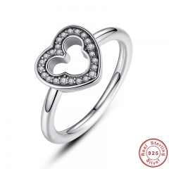 New Collection 925 Sterling Silver Heart Finger Ring with Clear CZ for Women Wedding Original Fine Jewelry PA7164
