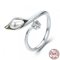 Authentic 925 Sterling Silver Elegant calla lilies Flower Buds Adjustable Female Ring for Women Engagement Jewelry SCR299