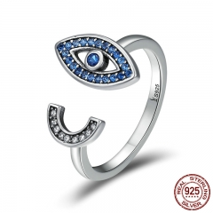 100% 925 Sterling Silver Fascinating Blue Eye Face Clear CZ Open Finger Rings for Women Sterling Silver Jewelry SCR173