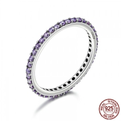 925 Sterling Silver Stackable Ring Classical Round Purple Dazzling CZ Finger Rings for Women Engagement Jewelry PA7635