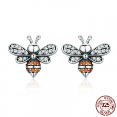 High Quality 100% 925 Sterling Silver Bee Story Clear CZ Exquisite Stud Earrings for Women Fashion Silver Jewelry SCE344 EARR-0348