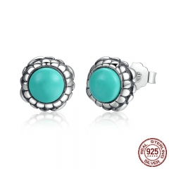 925 Sterling Silver Birthday Blooms Earrings, December, Stone Stud Earrings for Women Jewelry PAS431