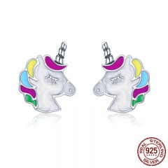 High Quality 100% 925 Sterling Silver Colorful Memory Stud Earrings for Women Sterling Silver Jewelry Gift SCE393