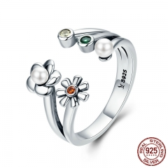 Genuine 925 Sterling Silver Adjustable Daisy Flower Dazzling CZ Female Ring for Women Wedding Engagement Jewelry SCR297
