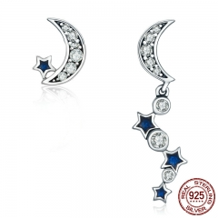 Authentic 925 Sterling Silver Crescent Half Moon & Star Dazzling Blue CZ Drop Earrings for Women Jewelry Bijoux SCE127
