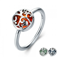 Hot Sale 925 Sterling Silver 3 Color Tree of Life Finger Ring Crystal Rings for Women Sterling Silver Jewelry Gift SCR195