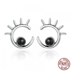 Trendy New 925 Sterling Silver Face Cute Cartoon Girls Eyes Stud Earrings for Women Sterling Silver Jewelry Bijoux SCE104