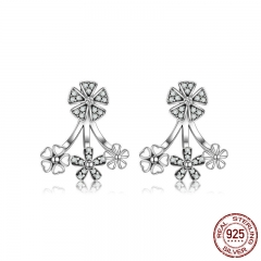 925 Sterling Silver Trendy Natural Flower Dazzling Daisy Earrings Jacket for Women Sterling Silver Jewelry Brincos SCE063