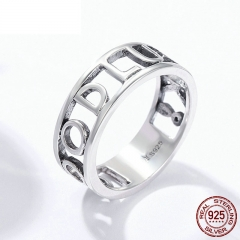 Authentic 925 Sterling Silver GOOD LUCK Finger Ring Cocktail Female Rings for Women Engagement Ring Jewelry Gift SCR223
