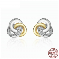 Genuine 925 Sterling Silver Interlinked Circles, Dazzling CZ Geometric Stud Earrings for Women Fine Jewelry Bijoux PAS511
