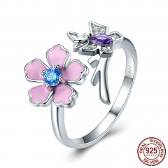New Trendy 100% 925 Sterling Silver Love of Butterfly Pink Flower Open Rings for Women Wedding Silver Jewelry BSR004 RING-0412