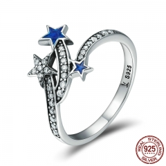 Genuine 925 Sterling Silver Glittering Star Line Clear CZ Finger Rings for Women Sterling Silver Jewelry Anel SCR174