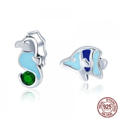 100% 925 Sterling Silver Seahorse And Tropical Fish Color Enamel Stud Earrings For Women Fashion Silver Jewelry SCE433