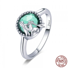 New Trendy 100% 925 Sterling Silver Romantic Story Legend Green CZ Finger Ring Women Sterling Silver Jewelry Gift SCR361 RING-0410