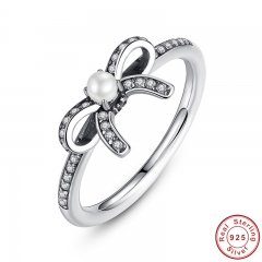 735 925 Sterling Silver Delicate Sentiments Finger Ring with White Pearl & Clear CZ Original Engagement Ring PA7160