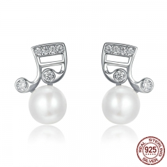 Fashion 925 Sterling Silver Music Melody Notes Fresh Water Pearl Stud Earrings for Women Authentic Silver Jewelry SCE126 EARR-0213