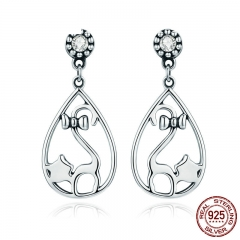 Authentic 925 Sterling Silver Naughty Cat with Bowknot CZ Drop Earrings for Women Sterling Silver Jewelry Gift SCE365