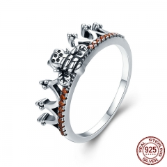 Hot Sale 100% 925 Sterling Silver Bee in Princess Crown Finger Rings for Women Wedding Engagement jewelry Gift SCR292