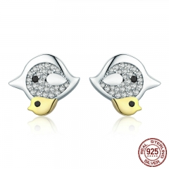 Genuine 925 Sterling Silver Bird Mother with Fledgling Stud Earrings for Women Sterling Silver Jewelry Brincos SCE324