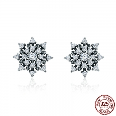 High Quality 100% 925 Sterling Silver Romantic Snowflake Luminous CZ Stud Earrings for Women Fine Silver Jewelry SCE346