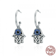 Hot Sale 100% 925 Sterling Silver Lucky Hamsa Hand Round Hoop Earrings for Women Fashion Sterling Silver Jewelry SCE244 EARR-0252