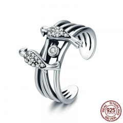 New Collection 925 Sterling Silver Magpie Family Story Finger Rings for Women Sterling Silver Jewelry Gift for Mom SCR325