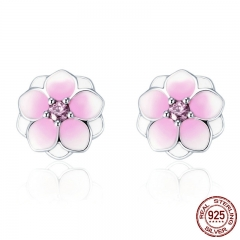 Genuine 925 Sterling Silver Magnolia Bloom, Pale Cerise Enamel & Pink CZ Stud Earrings for Women Jewelry Bijoux PAS503