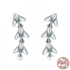 Fashion New 100% 925 Sterling Silver Stackable Plane Drop Earrings for Women Sterling Silver Jewelry Brincos SCE325