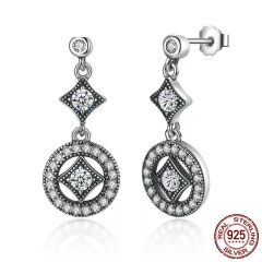 Stunning 925 Sterling Silver with AAA Zircon VINTAGE ALLURE Drop Earrings for Women Fashion Jewelry Engagement PAS492