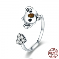 Animal Collection Real 925 Sterling Silver Lovely Koala Shape Adjustable Open Size Ring Sterling Silver Jewelry SCR355 RING-0395